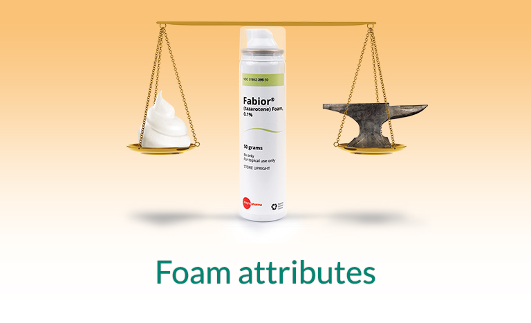 FABIOR Foam attributes. Fabior tazarotene foam, 0.1 percent, 50 grams, topical use, Mayne Pharma